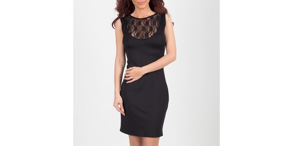Dámské černé šaty s krajkovým výstřihem Chaser