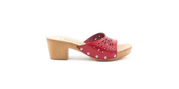 Dámské kožené sandály s červeným perforovaným páskem Liberitae