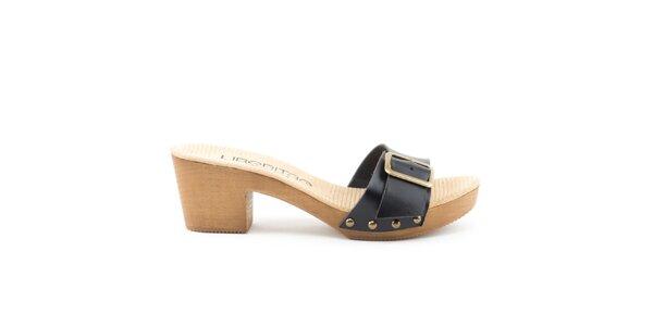 Dámské kožené sandály s černým páskem a přezkou Liberitae