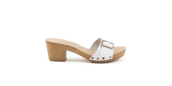 Dámské kožené sandály s bílým páskem a přezkou Liberitae