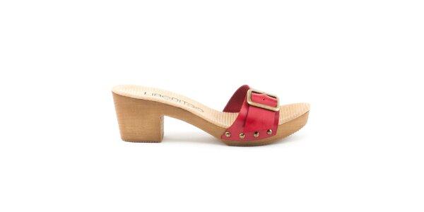 Dámské kožené sandály s červeným páskem a přezkou Liberitae