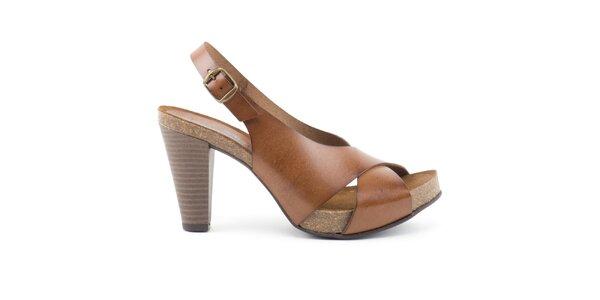 Dámské kožené sandálky na podpatku Liberitae
