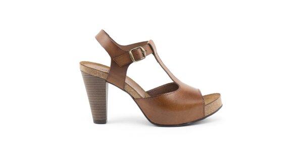Dámské kožené světle hnědé sandálky na podpatku Liberitae