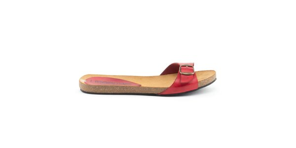 Dámské kožené pantofle s červeným páskem Liberitae