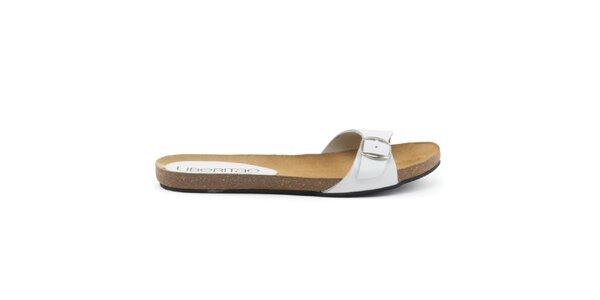 Dámské kožené pantofle s bílým páskem Liberitae