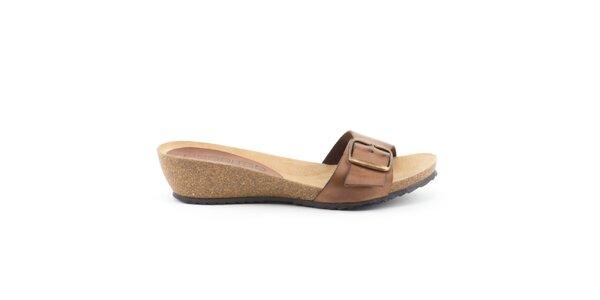 Dámské kožené hnědé nazouvací sandálky Liberitae