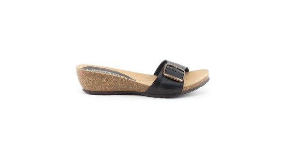 Dámské kožené černé nazouvací sandálky Liberitae