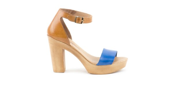 Dámské hnědo-modré kožené sandálky s plnou patou Liberitae