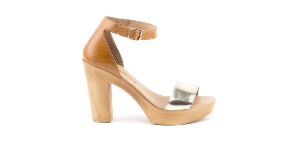 Dámské dvoubarevné kožené sandálky s plnou patou Liberitae