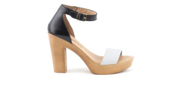 Dámské černobílé kožené sandálky s plnou patou Liberitae