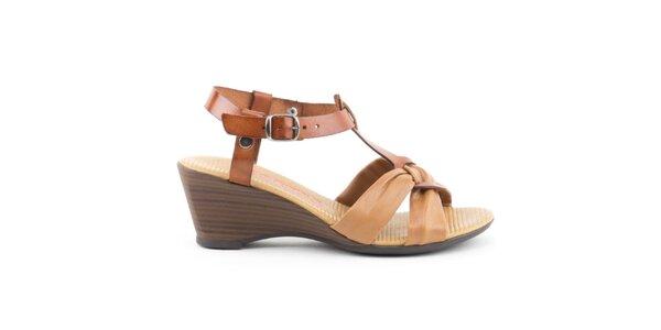 Dámské kožené dvoubarevné sandálky s uzlíkem Liberitae