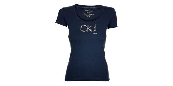 Dámské tmavě modré tričko Calvin Klein s kamínky