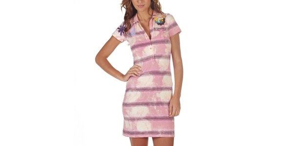 Dámské růžové pruhované šaty s kapsou Custo Barcelona