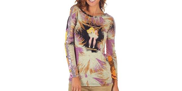 Dámské pestrobarevné tričko s dlouhým rukávem Custo Barcelona