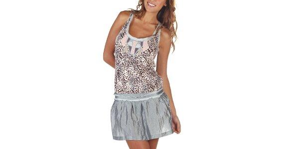 Dámské šaty s leopardím vzorem a šedou sukní Custo Barcelona