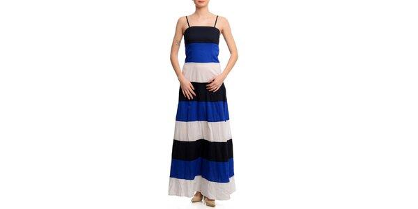 Dámské trojbarevné pruhované šaty Butik 7279