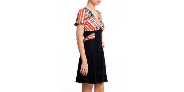 Dámské šaty s červeně proužkovaným dílem Butik 7279