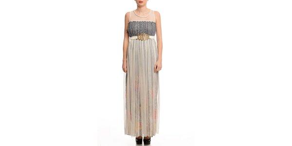 Dámské šaty s transparentní vrstvou a černým proužkem Butik 7279