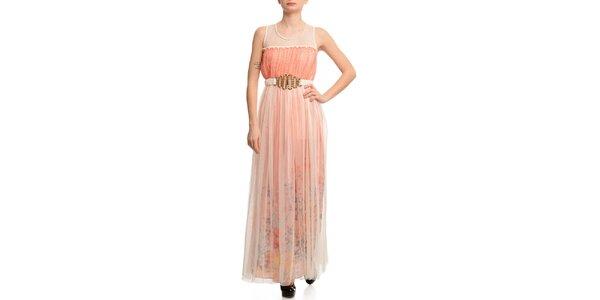 Dámské šaty s transparentní vrstvou a korálovým proužkem Butik 7279