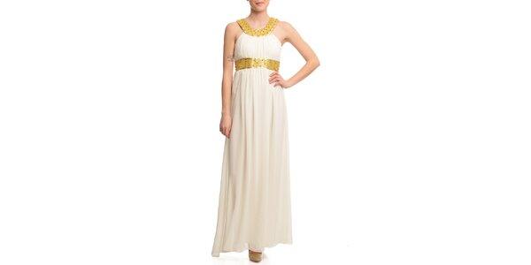 Dámské krémové šaty se zlatými lemy Butik 7279
