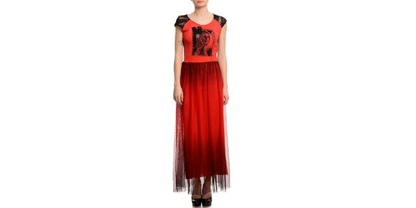 Dámské červené šaty s fotopotiskem Butik 7279