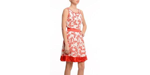 Dámské krátké šaty s červenými motýlky Butik 7279