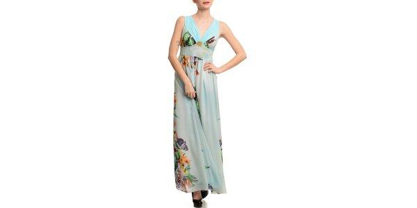 Dámské světle modré šaty s potiskem Butik 7279
