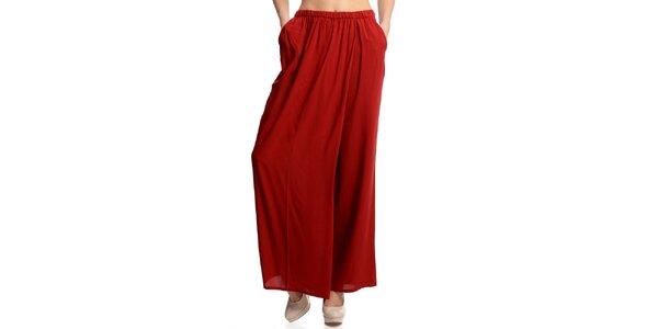 Dámské široké červené kalhoty Butik 7279
