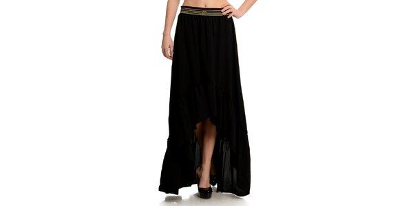 Dámská černá sukně s pruhovaným pasem Butik 7279
