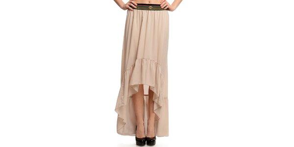 Dámská béžová sukně s pruhovaným pasem Butik 7279