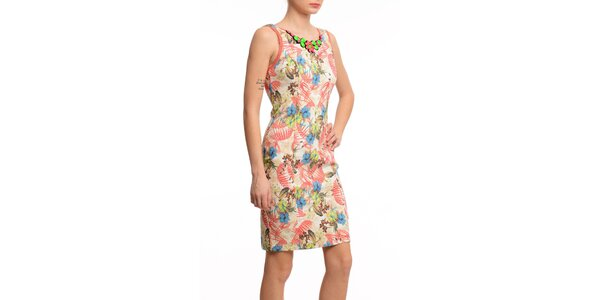 Dámské pouzdrové šaty s ozdobným výstřihem Butik 7279