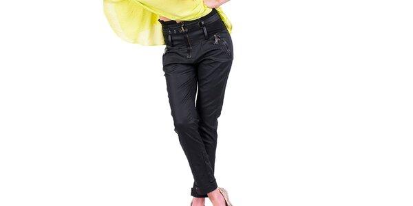 Dámské černé kalhoty s ozdobným pasem Nelita