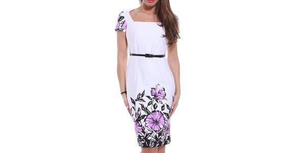 Dámské bílé pouzdrové šaty s květinami Melli London