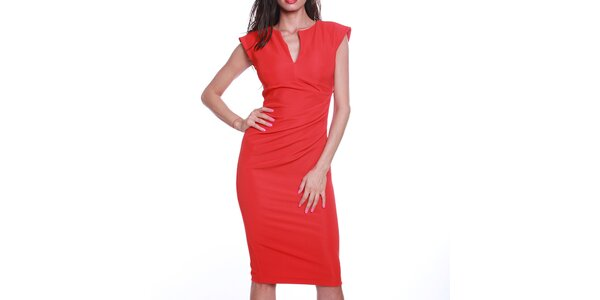 Dámské rudé pouzdrové šaty s výstřihem Melli London