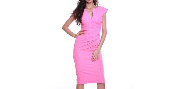 Dámské růžové pouzdrové šaty s výstřihem Melli London
