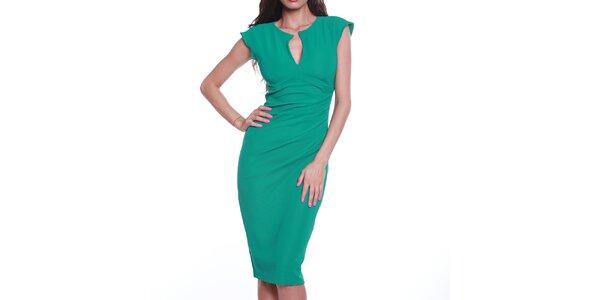 Dámské zelené pouzdrové šaty s výstřihem Melli London