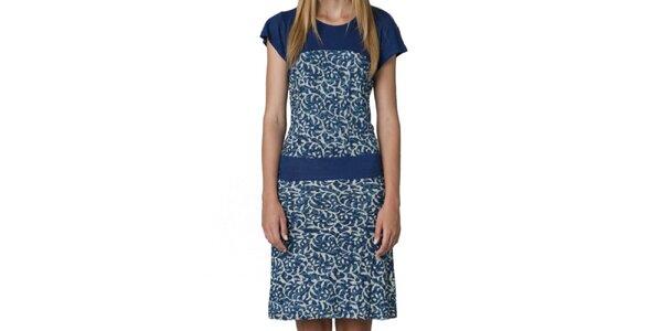 Dámské modré šaty se vzorem Yhoss