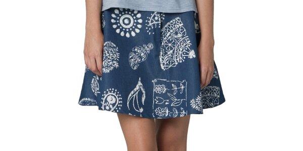 Dámská tmavě modrá sukně s vintage vzorem Yhoss