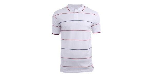 Pánské bílé polo tričko s tenkými proužky Authority