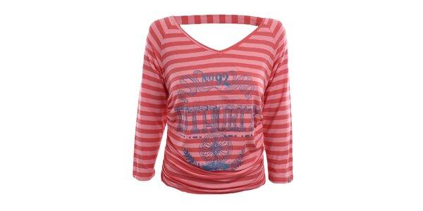 Dámské růžové pruhované tričko s dlouhým rukávem Authority