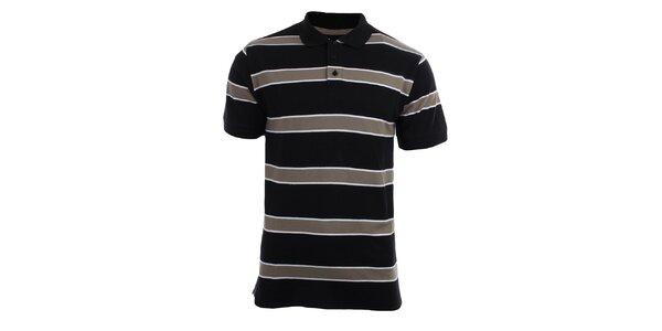 Pánské černo-hnědé pruhované polo tričko Authority