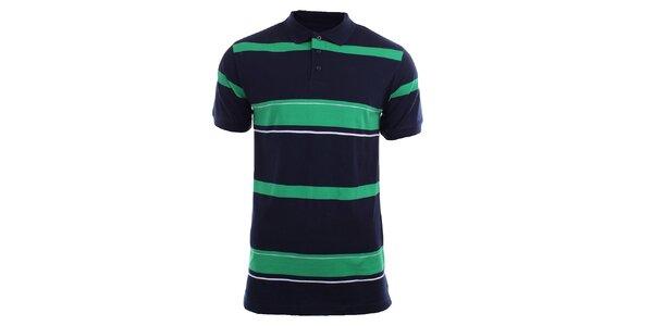 Pánské tmavé polo tričko se zelenými proužky Authority
