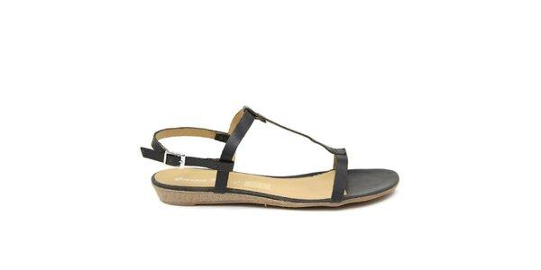 Dámské černé kožené sandálky Giorgio Picino