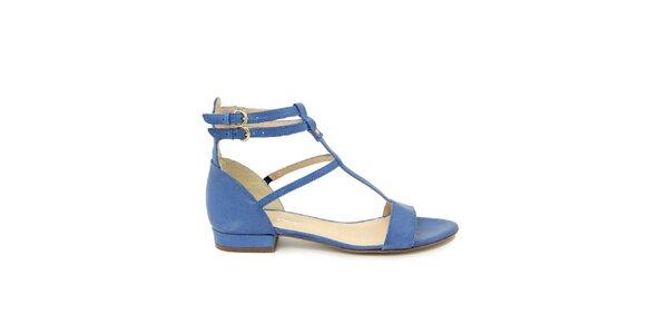 Dámské modré kožené gladiátorské sandálky Giorgio Picino