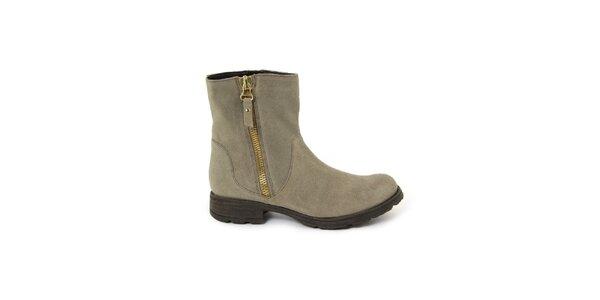 Dámské šedobéžové semišové kotníkové boty Giorgio Picino
