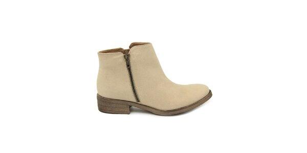 Dámské béžové kotníkové boty se zipem Giorgio Picino
