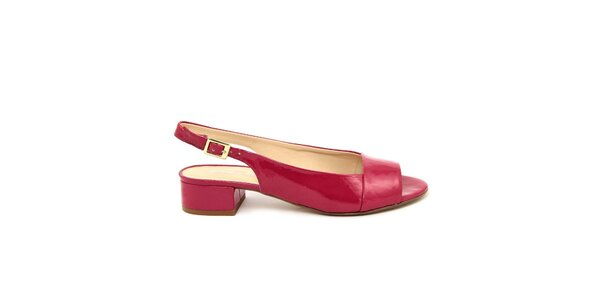 Dámské fuchsiové kožené sandálky s podpatkem Giorgio Picino