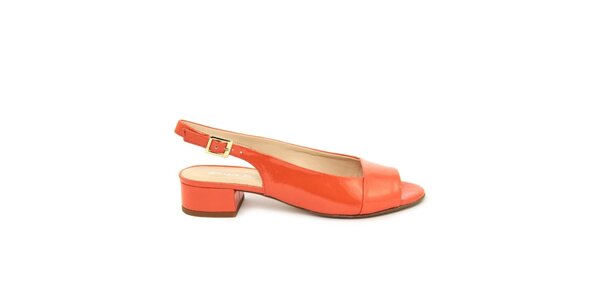 Dámské oranžové kožené sandálky s podpatkem Giorgio Picino