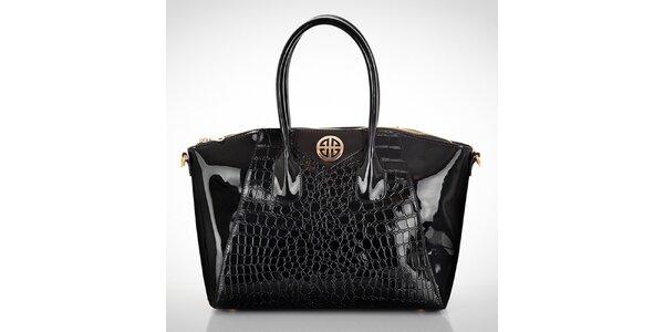 Dámská lesklá černá kabelka s motivem hadí kůže Felice