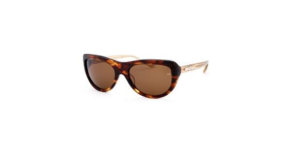 Dámské žíhané sluneční brýle s kontrastními stranicemi Nina Ricci
